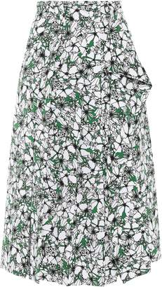 Cédric Charlier Draped Floral-print Woven Skirt