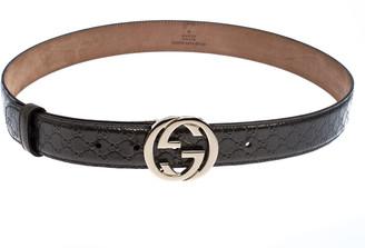 Gucci Metallic Grey Micro Guccissima Patent GG Interlocking Belt Size 85CM
