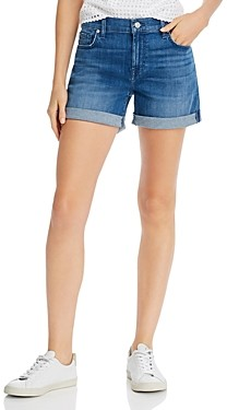 7 For All Mankind High-Rise Rolled Denim Shorts in Shoreline