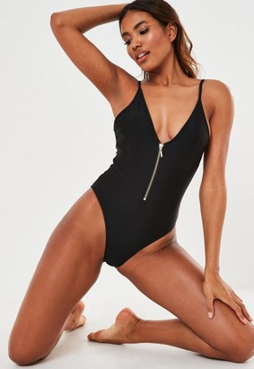 Missguided Black Zip Front Plunge Swimsuit