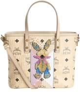 MCM Mini Embellished Rabbit Top Zip Shopper, Beige, One Size