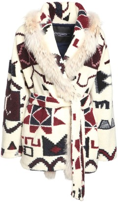 Simonetta Ravizza Geometric Print Belted Jacket W/fur Trim