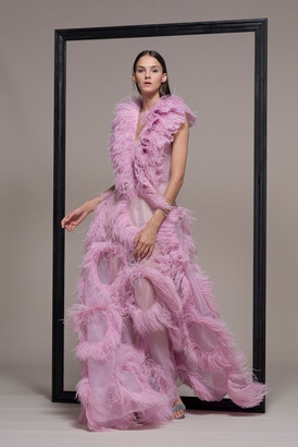 Isabel Sanchis Feathered Evening Gown