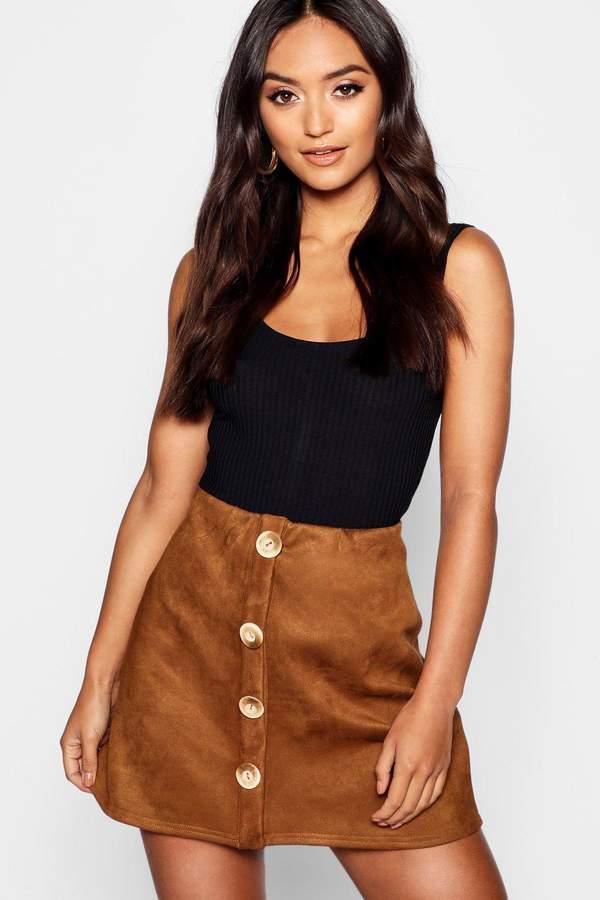 boohoo Petite Bonded Suedette Mock Horn Button Mini Skirt