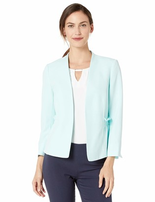 Kasper Women's Stretch Crepe Ruched Waist Open Front Jacket