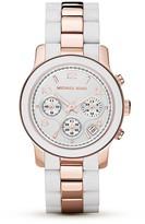 Michael Michael Kors Round White & Rose Gold Tone Watch, 39mm