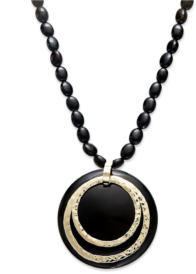 14k Gold Necklace, Onyx Bullseye Pendant (34mm)