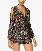 Material Girl Juniors' Printed Cold-Shoulder Romper, Only at Macy's