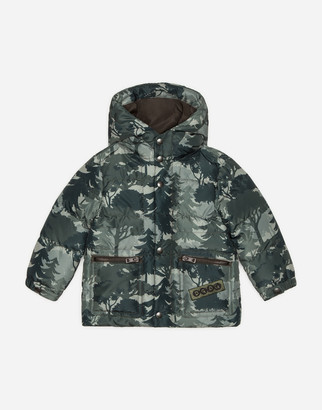 Dolce & Gabbana Long Nylon Down Jacket With Forest Print