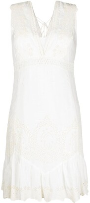 Patrizia Pepe embroidered lace V-back dress