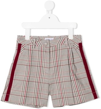 MonnaLisa Plaid Check Velvet-Trim Shorts