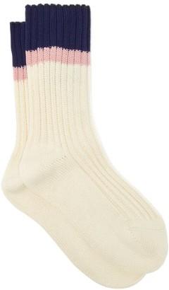 Prada Jacquard-stripe Cotton-blend Socks - White Multi