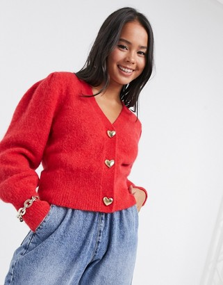 And other stories & gold heart button puff sleeve cardigan in red