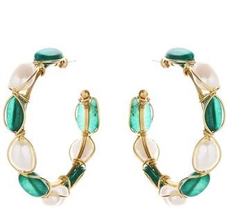 Oscar de la Renta Green Jade Hoop Earrings