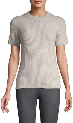 Saks Fifth Avenue Cashmere Short-Sleeve Ribbed Cashmere Top
