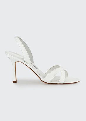 Manolo Blahnik Callasli Patent Leather Slingback Sandals