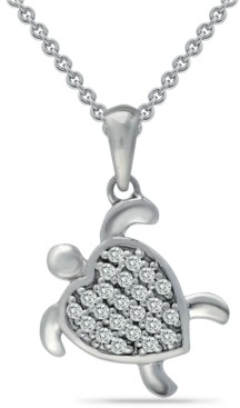 "Giani Bernini Cubic Zirconia Sea Turtle Pendant Necklace in Sterling Silver, 16"" + 2"" extender, Created for Macy's"