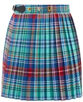 Thumbnail for your product : Charles Jeffrey Loverboy Tartan Pleated Cotton-twill Mini Skirt - Blue Multi