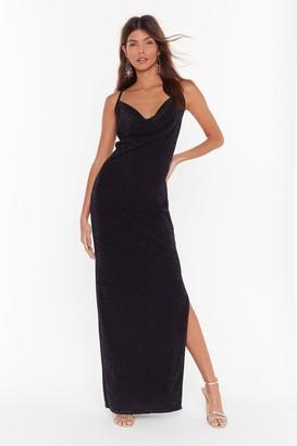 Nasty Gal Womens The Party's Cowlin' Glitter Maxi Dress - black - 6