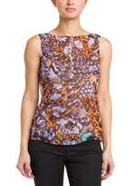 Paperwhite Purple Multicolor Print Draped Silk Top.