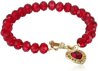 1928 Jewelry Classic Red Faceted Crystal Toggle with Filigree Heart Charm Bracelet