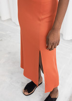 And other stories Side Slit Satin Midi Skirt