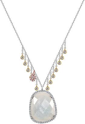 Meira T 14K 20.19 Ct. Tw. Diamond & Milky Aqua Necklace