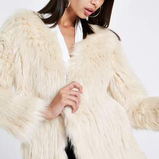 River Island Womens Cream knitted faux fur coat