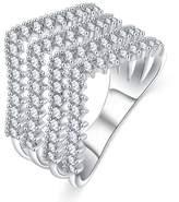 Gnzoe Jewelry Wedding Ring Prongs Zirconia Crystal Luxury Design Engagement Rings Women Wife Size 8