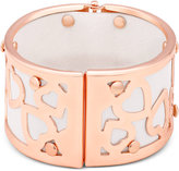 GUESS Rose Gold-Tone and White Faux Leather Wide Heart Bangle Bracelet