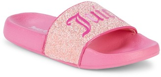 Juicy Couture Girl's Logo Glitter Slides