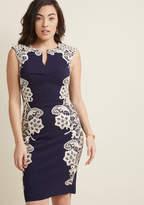 ModCloth Lakeside Libations Sheath Dress in Navy in 22 (UK) - Cap Knee Length