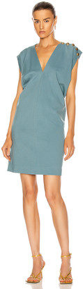 Givenchy Gold Button Sleeveless Draped Dress in Blue   FWRD