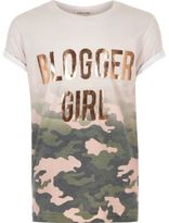 River Island Girls pink camo metallic print T-shirt