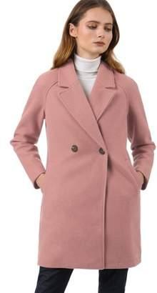 Unique Bargains Women's Notched Lapel Double Breasted Raglan Above Knee Winter Coat