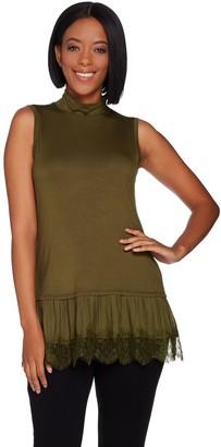 Logo by Lori Goldstein Mock Neck Knit Tank w/ Lace Ruffle Hem