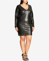 City Chic Trendy Plus Size Sequined Shift Dress