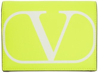 Valentino Yellow VLogo Flap French Wallet