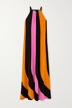 Diane von Furstenberg Kristine Striped Silk-crepe Halterneck Maxi Dress - Black