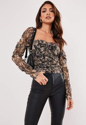 Missguided Brown Snake Mesh Ruched Milkmaid Crop Top