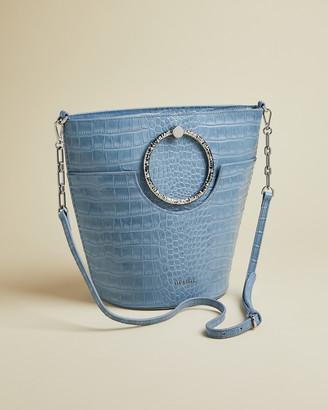 Ted Baker MAISEE Exotic circular handle bucket bag