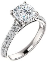 King of Jewelry 2.50 ct. Cusion Cut Tree Row Micro Pave Set Diamond Engagement Ring 14k Wite Gold , VS2 GIA