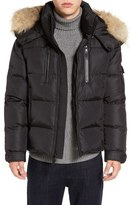 SAM. Quilted Down Jacket with Genuine Coyote Fur Trim Hood