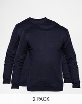 Asos Cotton Crew Neck Jumper 2 Pack Save 17% - Navy
