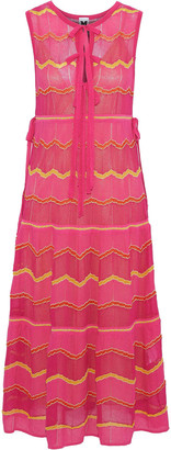 M Missoni Bow-detailed Striped Crochet-knit Cotton-blend Midi Dress