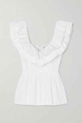 Alexander McQueen Ruffled Cotton-poplin Peplum Blouse - White