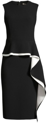 Jason Wu Collection Double-Face Compact Crepe Ruffle Sheath Dress