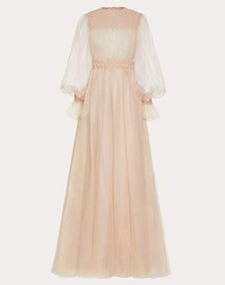 Valentino Embroidered Tulle Evening Dress Women Poudre 100% Poliammide 48