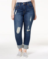 Melissa McCarthy Trendy Plus Size Crush Wash Ripped Jeans