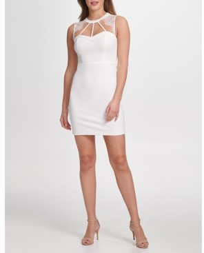 GUESS Lace-Trim Cutout Bodycon Dress
